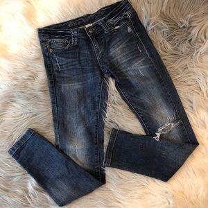 Blue Asphalt Sz 0 Short Destroy Skinny Jeans
